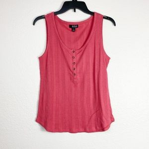 🌻 3/$20 Ana Pink Ribbed Buttoned Tank Top